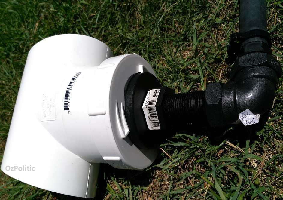 Assembled rainwater diverter to low density poly pipe